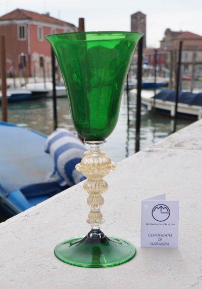 Calice Verde Murano Vetro Artistico Con Oro 24kt Murano Wine Glasses