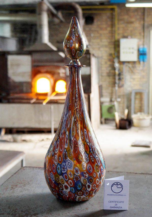 Murano Glass Bottle With Murrina Millefiori