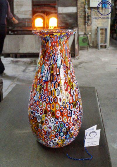 Vaso Tulipano In Vetro Murano Con Murrina Millefiori Murano Vases