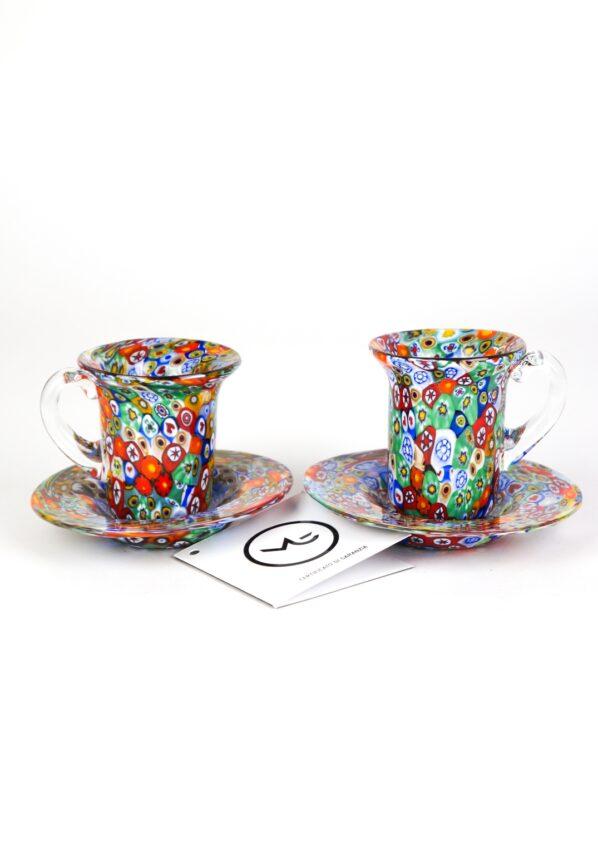 Set Of 2 Coffee Murano Glasses With Plate - Murano Glass
