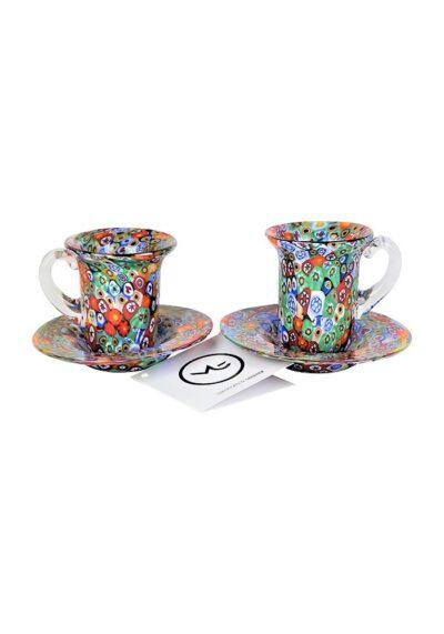 Set Of 2 Coffee Murano Glasses With Plate – Murano Glass