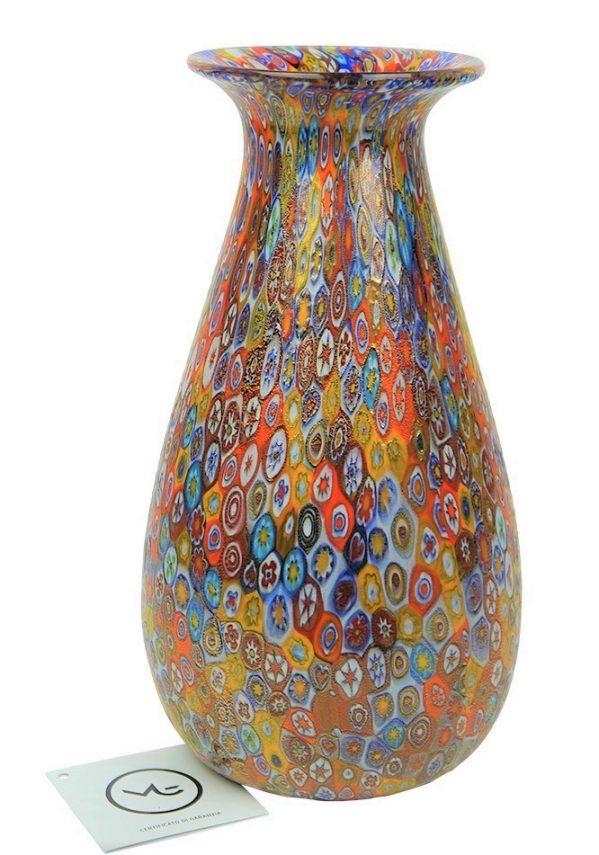Vaso Tulipano In Vetro Murano Con Murrina Millefiori Murano Vase
