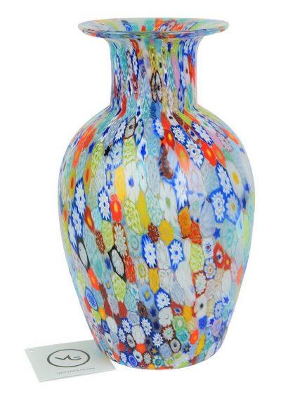 Big Murano Glass Vase With Murrina Millefiori