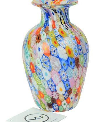 Venetian Glass Vase - Harlequin - With Murrina Millefiori