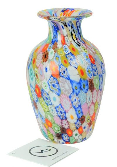 Venetian Glass Vase – Harlequin – With Murrina Millefiori