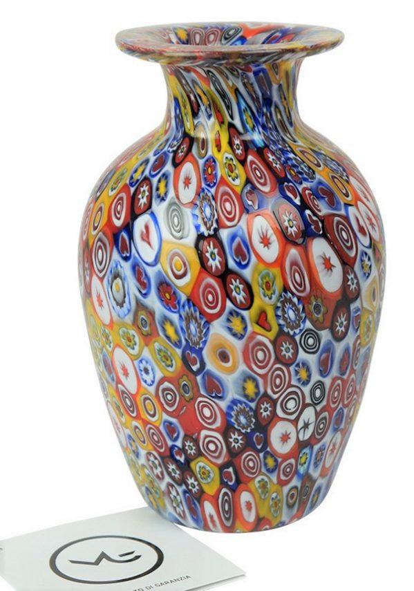 Venetian Glass Vase - Pasta - With Murrina Millefiori