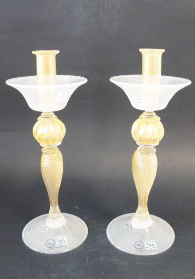 Candelieri Murano Vetro Artistico In Filigrana E Oro 24kt Murano Glass