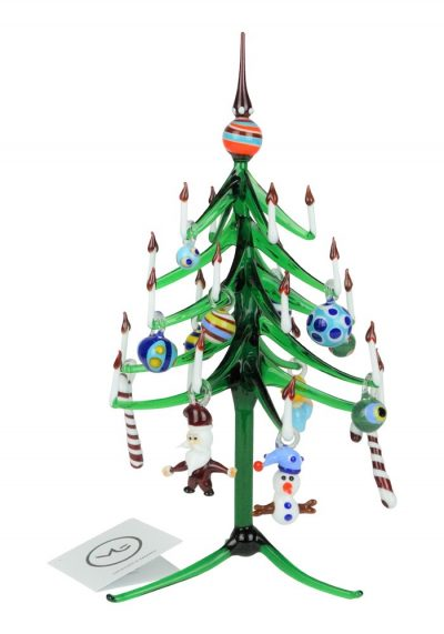 Aury – Green Christmas Tree With Decorations – Murano Glass Ornaments