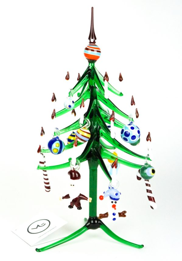 Aury - Green Christmas Tree With Decorations - Murano Glass Ornaments
