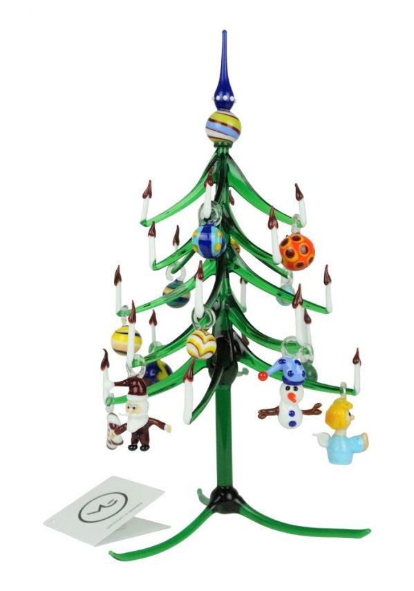 Albero Di Natale Verde Punta Blu Con Decorazioni In Vetro Di Murano Xmas Gift