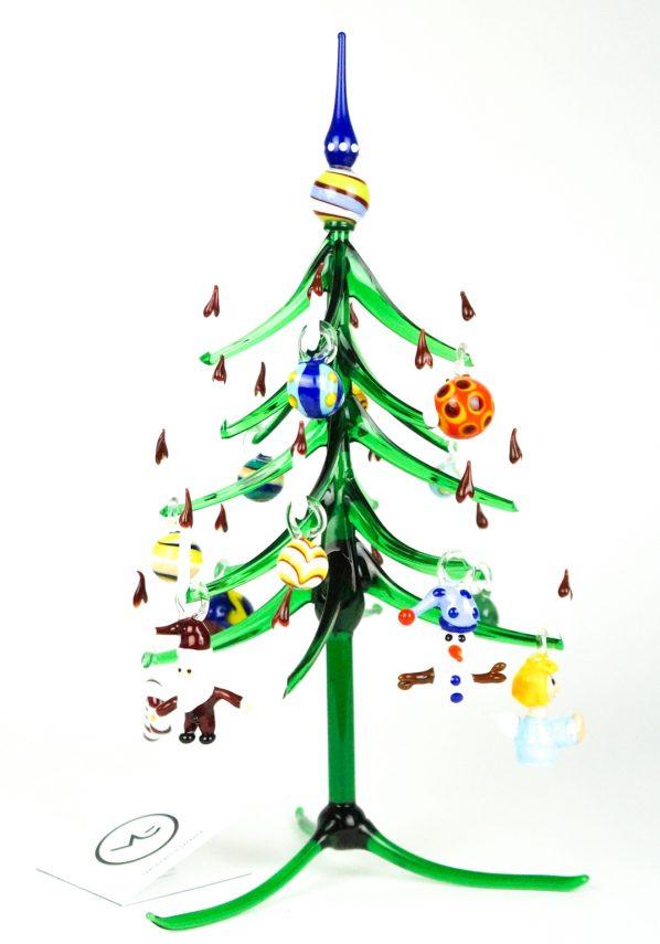 Albero Di Natale Verde Punta Blu Con Decorazioni In Vetro Di Murano Cristmas