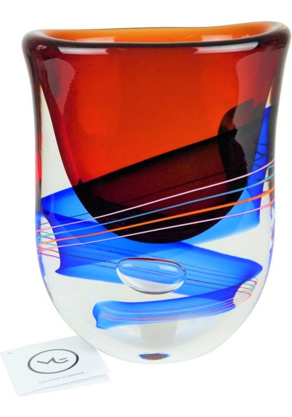 Bach - Sommerso Murano Vase - Red Blue