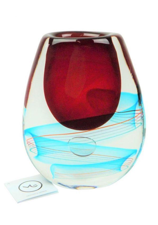 Mozart - Vaso Murano Sommerso Rosso Acquamarina Murano Glass Vase