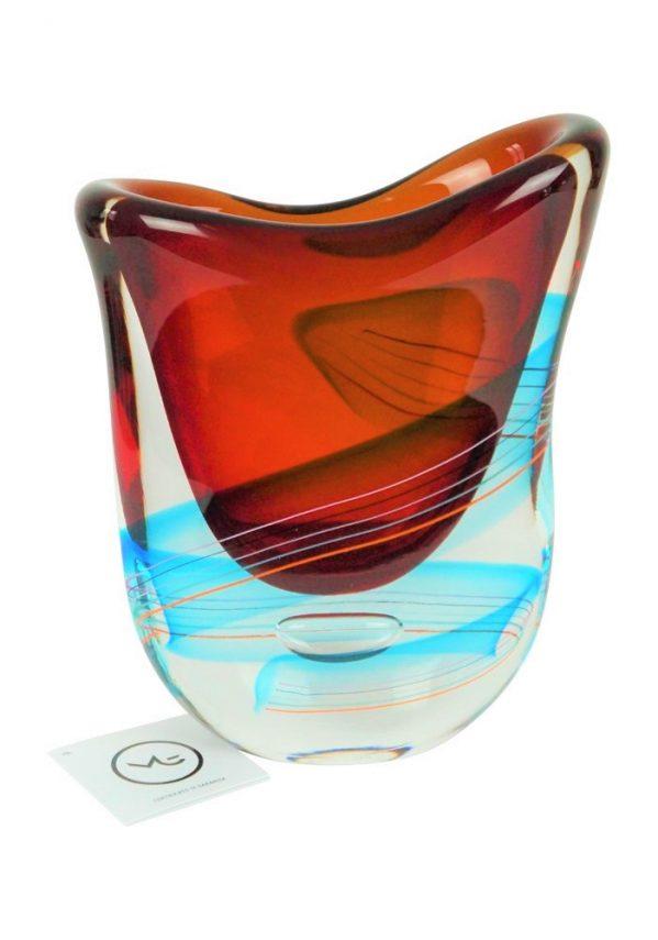 Schubert - Vaso Murano Sommerso Rosso Acquamarina Made Murano Glass Vase