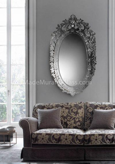 Silver Murano Mirror – Faro – Venetian Glass