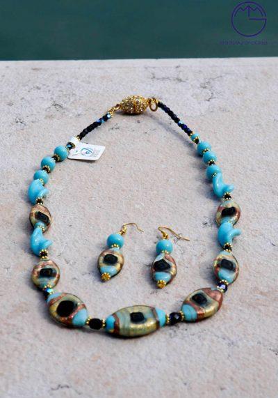 Cambridge – Necklace And Earrings In Murano Glass – Venetian Glass Jewellery