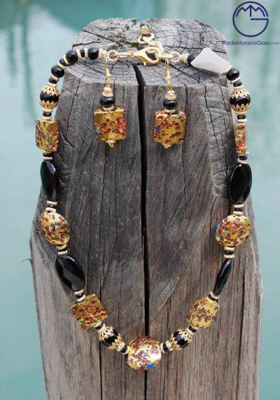 Bogota – Necklace And Earrings In Murano Glass – Venetian Glass Jewellery