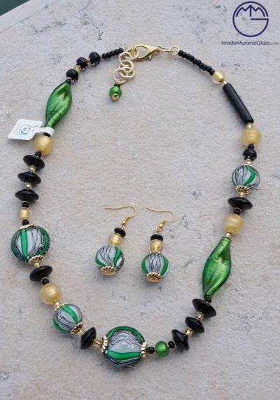 Glasgow – Necklace And Earrings In Murano Glass – Venetian Glass Jewellery