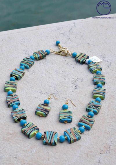 Ocean – Necklace And Earrings In Murano Glass – Venetian Glass Jewellery