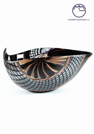 El Santo – Black Murano Glass Bowl Engraved