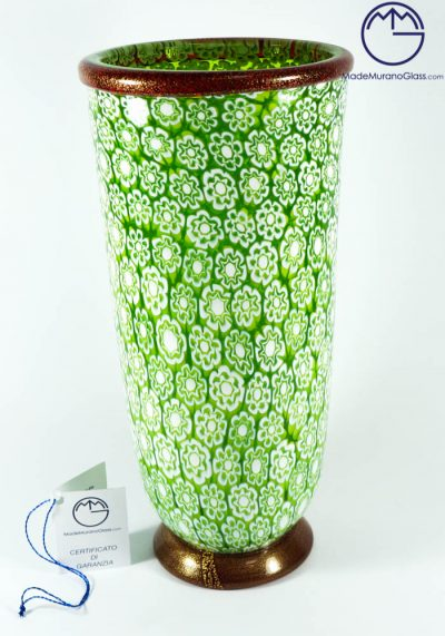 Exclusive Venetian Glass Vase With Murrina And Gold 24 Carats – Murano Glass