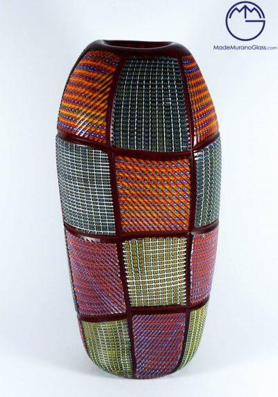 Exclusive Venetian Glass Vase – Abudabi – With Murrina Engraved – Murano Art