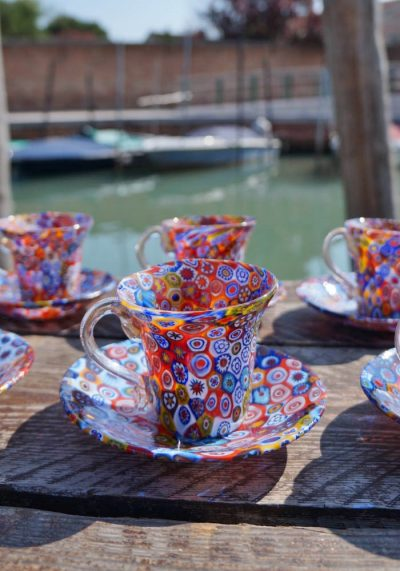 Set Of 6 Coffee Murano Glasses With Plate With Murrina And Gold