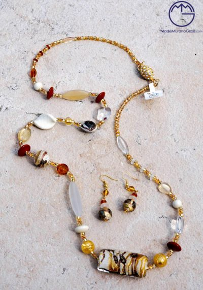 Newcastle – Necklace And Earrings In Murano Glass – Venetian Glass Jewellery