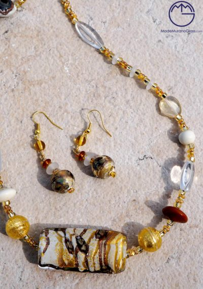 Newcastle - Necklace And Earrings In Murano Glass - Venetian Glass Jewellery