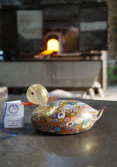 Murano Glass Animals – Duck With Murrina And Gold – Murano Art