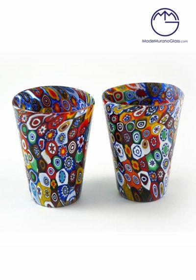 Set Of 2 Murano Drinking Glasses Sakè With Murrina – Murano Glasses