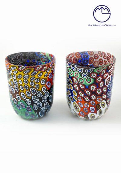 """Set Of 2 Murano Drinking Glasses """"Patchwork"""" With Murrina – Murano Glass"""