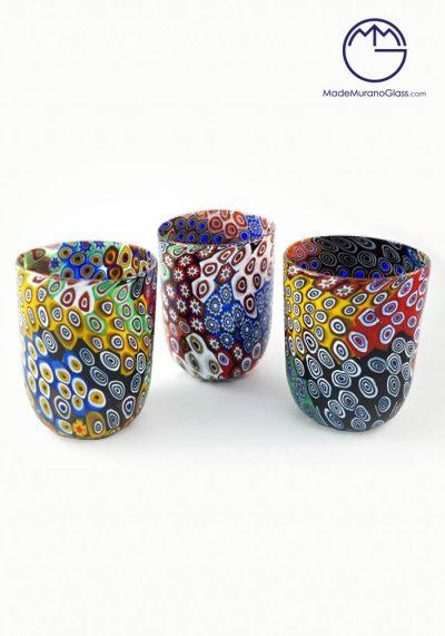 """Set Of 3 Murano Drinking Glasses """"Patchwork"""" – Murano Glass"""