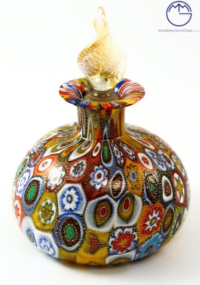Erica – Fragrance Bottle In Murano Glass With Murrina And Gold 24 Carats