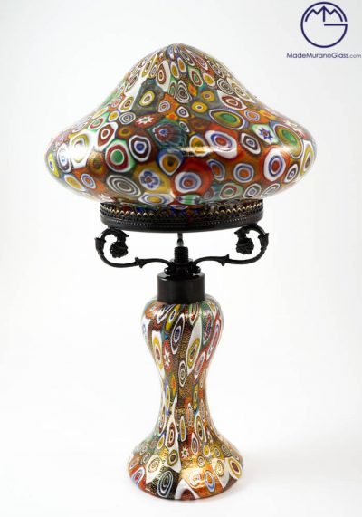Venetian Glass Lamps With Murrina Millefiori And Gold 24 Carats