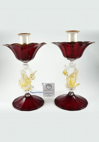 Pair Of Candles Holder In Murano Glass And Gold 24 Carats