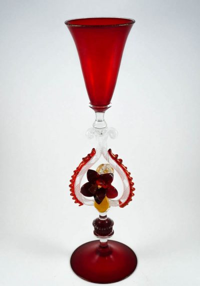 Calici Murano Vetro Artistico Rosso Con Zanfirico