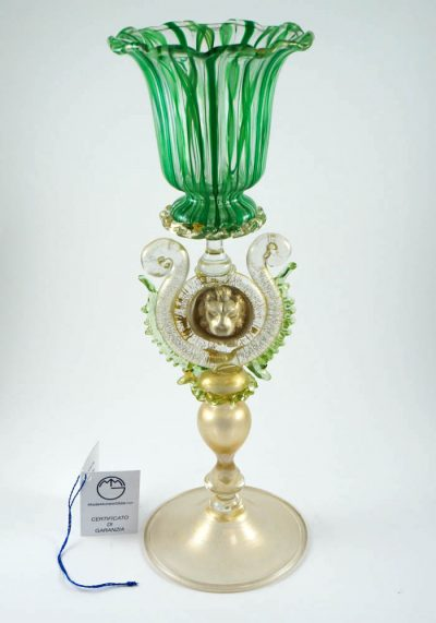 """Exclusive Venetian Glass Big Goblet With """"ZANFIRICO"""" And Gold"""