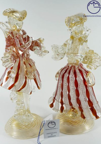 """Murano Glass Figurines – Dancers With """"ZANFIRICO"""" And Gold 24 Carats"""