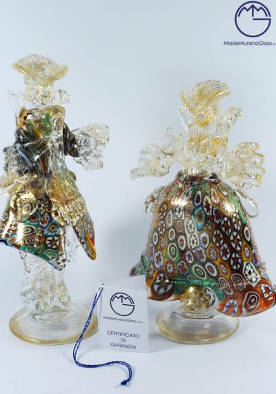 Murano Glass Figurines – Dancers With Murrina And Gold 24 Carats