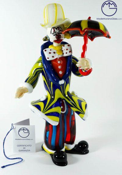 Murano Glass Clown With Umbrella – Venetian Glass