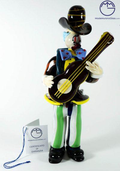 Murano Glass Clown With Guitar – Venetian Glass
