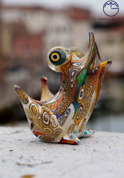 Murano Glass Animals – Frog With Murrina And Gold Leaf 24 Carats