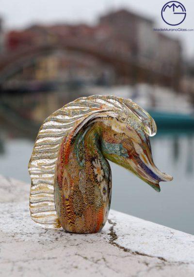 Murano Glass Animals – Horse With Murrina And Gold – Venetian Glass