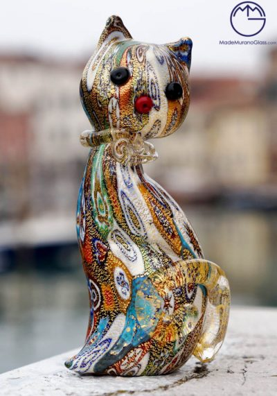 Murano Glass Animals – Cat With Murrina And Gold Leaf 24kt