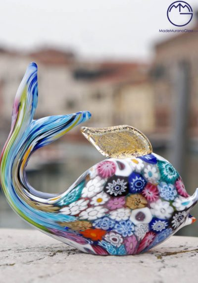 Murano Glass Fish With Murrina And Gold Leaf 24 Carats – Venetian Glass