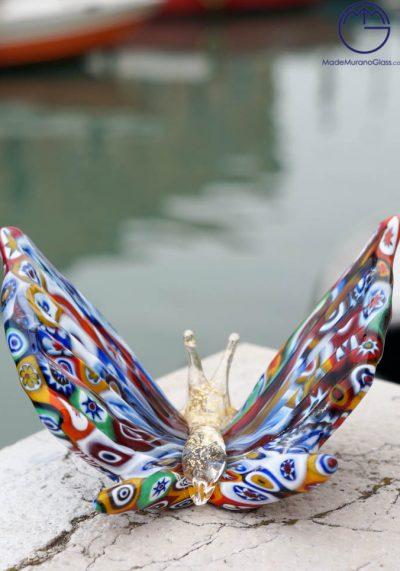 Murano Glass Animals – Butterfly With Murrina Millefiori And Gold – Venetian Glass