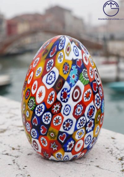 Uovo Grande Murano Vetro Artistico Con Murrina