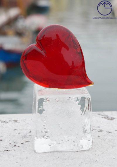 Heart With Big Base In Murano Glass – Murano Art