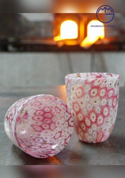 Set Di 2 Bicchieri Murano Vetro Con Murrine Rosa E Bianco